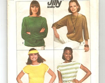 8088 Simplicity Sewing Pattern Stretch Knit Pullover Tops UNCUT Size 14/16 Vintage 1970s