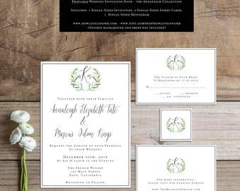 Printable Wedding Invitation Suite - the AnnaLeigh Collection - Wedding Invitation Suite - Wedding Invitations - Vineyard Wedding Invitation