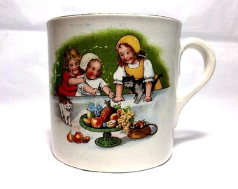 Vintage Child's Mug, Nursery Ware, Small Cup, Little Girls, Two Cats, Fruit Bowl, Children's Cup, Pottery Mug, Pink Flowers, Floral Cup