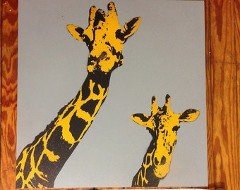 Giraffe, Wall Art Stencil, Spray Paint, Zoo Animals, Wood Panel Canvas