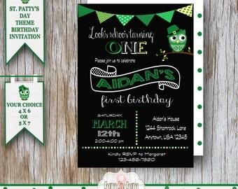 St. Patrick's Day Invitation, St. Patrick's Day Invite, Birthday Owl, Saint Patrick's Day Birthday Invitation, Little Leprechaun,