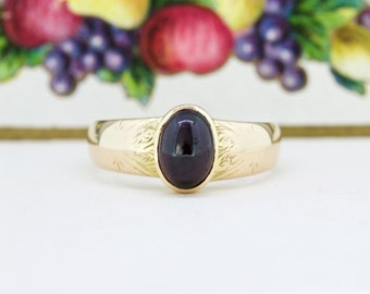 Victorian Rose Gold Ring | Bezel Set Ring | Garnet Ring | January Birthstone | 15k Gold Gemstone Ring | Unique Engagement Ring | Size 8