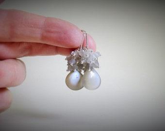 Gray AAA Moonstone earrings, cluster earrings, sterling silver, heart briolette, sterling Leverback hooks, 999 fine silver wire, natural gem