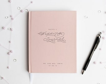 Wedding Journal Notebook Wedding Planner Personalized custom wedding book bridal shower guest book rustic wedding keepsake bride blush pink