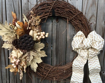 Fall Leaf Wreath, Lotus Pod Wreath, Autumn Wreath, Natural Wreath