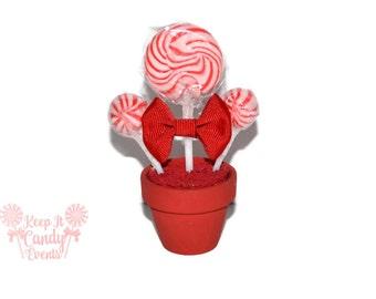 Red Mini Lollipop Arrangement, Red Candy Favor, Wedding Favor, Red, Wedding, Sweet Sixteen, Sweet 16, Quinceanera Candy, Bat Mitzvah Favor