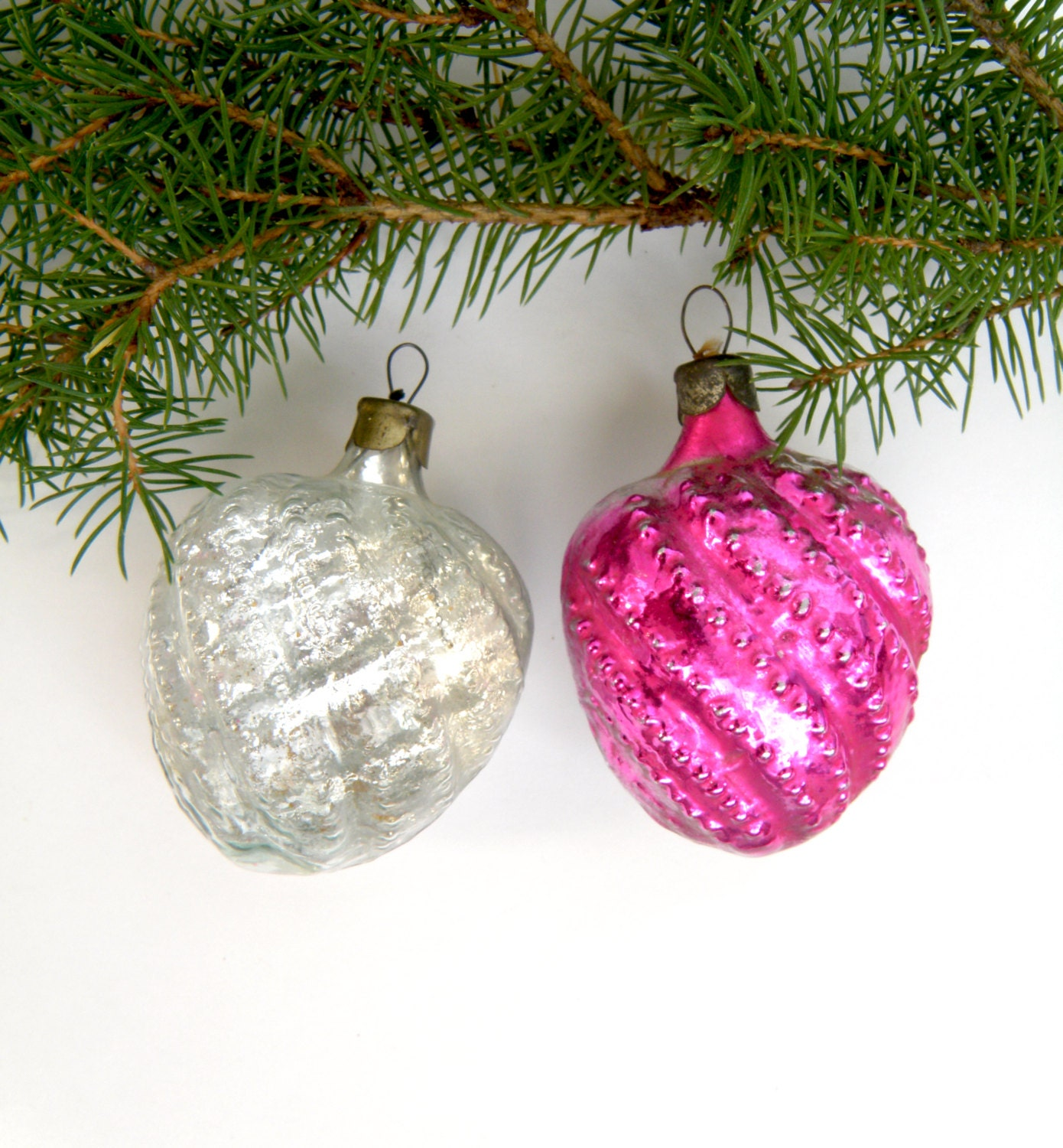 exotic fruits christmas glass ornaments set of 2 round