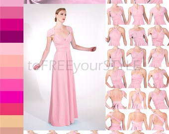 Long convertible dress in PINKS, A-LINE Free-Style Dress, infinity dress, convertible infinity dress, long bridesmaid dress, formal, bridal