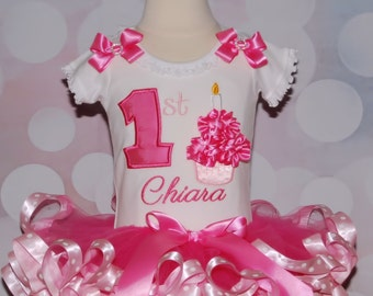 Cupcake 1st Birthday Tutu Outfit  in pink 2 pieces includes top and ribbon trimmed tutu only