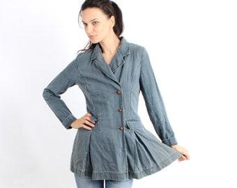Vintage Blue Grey Linen Waisted Ruffle Bottom Women Jacket / Blazer Size S / M