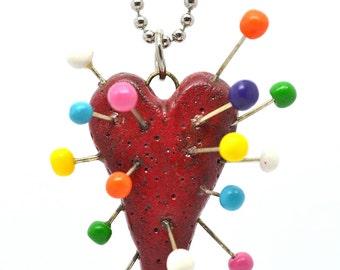 Tim Burton Inspired VooDoo Heart ,VooDoo heart necklace,Polymer clay necklace,Polymer clay jewelry