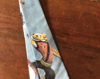 Tie Hand Made with Kung Fu Panda Cartoon- Legends of Awesomeness Fabric.