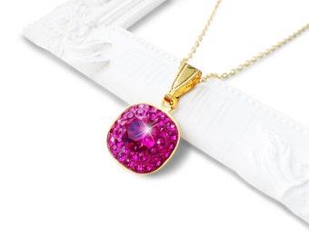 Fuchsia Pink Swarovski Crystal Pendant