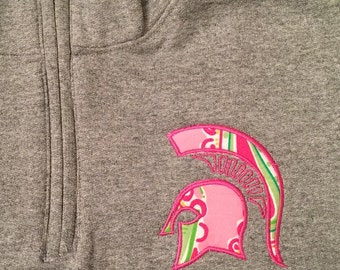 50% SALE!!!  1/4 Zip with Spartan Logo Lilly Pulitzer fabric