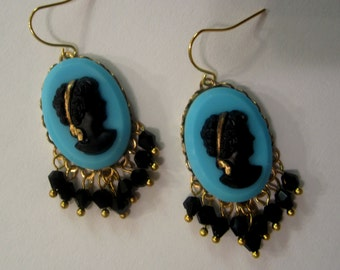 Vintage Sky Blue and Black Cameo Earrings With Black Fringe                        (b035)