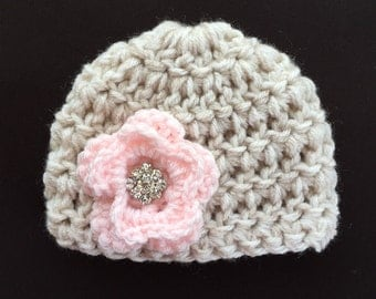 Baby girl hat baby hat crochet baby girl hat crochet hat with flower newborn girl hat newborn girl coming home outfit baby girl shower gift