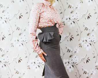 Women knee length peplum skirt, brown skirt, office wear, busienss clothes, pencil skirt, tweed skirt