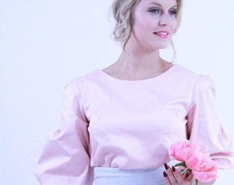 Women 3/4 sleeve peach blouse, puff sleeve blouse, balloon sleeve blouse, peach top, peach shirt, puff sleeve top