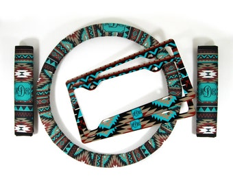 Custom Aztec Steering Wheel Cover Padded Insulated Tribal Car Accessories Seat Belt Covers License Plate Frames Choose Your Pattern & Colors