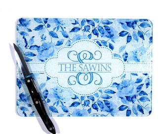 Personalized China Blue Cutting Board, Custom Blue China Glass Cutting Board, Monogrammed Cutting Board, Monogrammed Gifts Wedding Gifts