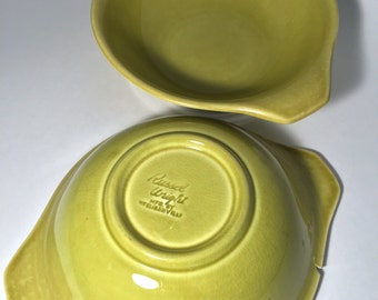 Mid Century: (2) Russel Wright American Modern for Steubenville in Chartreuse Double Lug/Handle Serving Bowl Pair/Set/Matching Imperfect