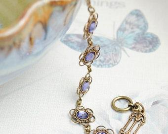 Tanzanite Bracelet, Lavender Bracelet, Victorian Bracelet, Violet, Vintage Bracelet, Dainty Bracelet, 30 Colours to Choose From B81