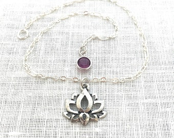 Ankle Bracelet Boho, Yoga Jewelry, Lotus Anklet, Lotus Flower, Silver Anklet for Women, Flower Cutout,  A0113