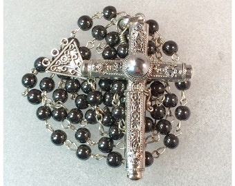 Cruel Intentions Rosary - Swirl Design Sterling Silver Pendant with Hematite Rosary Beads