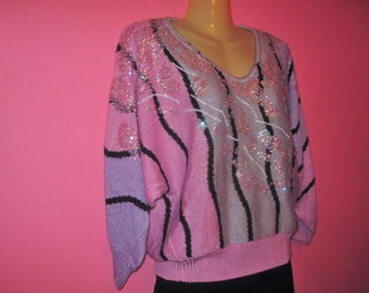 80s Sparkly Pastel Sweater, Size M