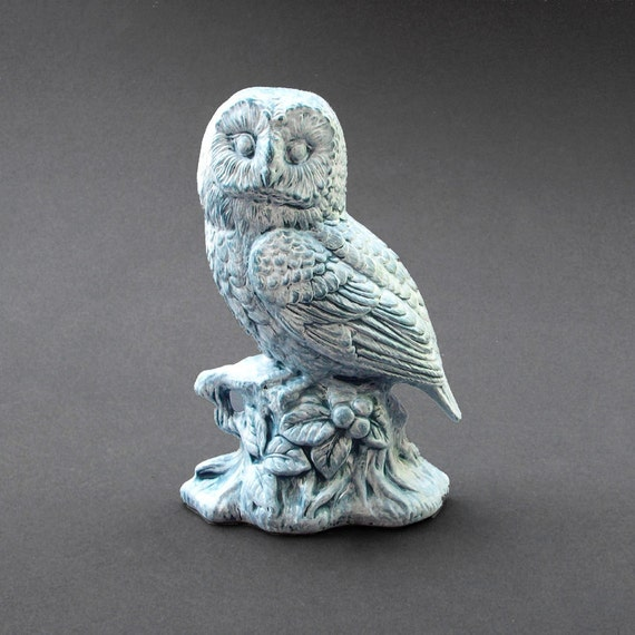 Distressed Teal And White Owl Figurine Ceramic By