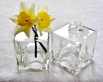 Stackable square glass bottles, square glass jars
