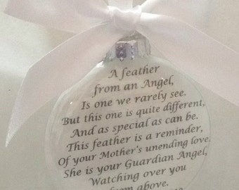 In Memory Memorial MOTHER Ornament & optional Feather Charm- A Feather From a Guardian Angel Sympathy Gift Remembrance of Mom Loss of Mother
