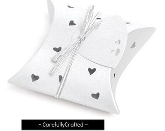 Heart Pillow Boxes - Pearl White