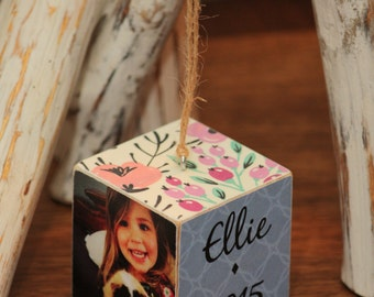 Custom Wooden Photo Block Ornament