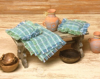 Miniature Cotton Blanket with Pillows for Your Dollhouse