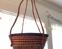 Woven Sisal And Leather Hanging Basket / Plant Hanger