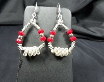 Spiral and Red Bead Earrings
