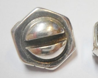 Sterling Plated 10mm Flat Bolt Hexagonal Slider, 10mm Flat Leather Bracelet Supplies, diy jewelry making supplies, hypoallergenic screw