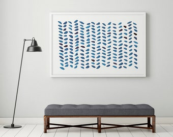 Large Abstract Wall Art, Navy Blue Painting, Abstract Art, Abstract Watercolor, Indigo Wall Art, Abstract Blue Painting, Large Prints, Dots