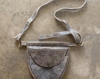 Vintage distressed leather belt bag, crossbody, boho, industrial, shabby chic, lagenlook