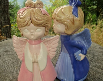 Vintage Choir Angels - Christmas Angels - Christmas Decor - Blue and Pink Angels