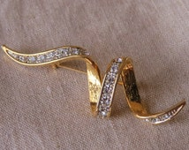 Gold White Rhinestones Brooch Swirl Brooch Gift Ideas Women's Fashions