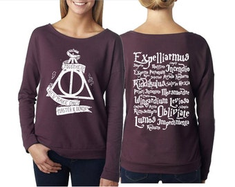 Deathly hallows together French Terry T-shirt ladies long sleeve scoop neck size S M L XL