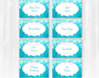 Frozen Food Labels - INSTANTLY Downloadable and EDITABLE File!! Personalize at home with Adobe Reader NOW! - Frozen Party Supplies