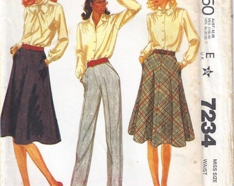 1980 McCalls 7234 Skirt and Pants Pattern, UNCUT, Size 10
