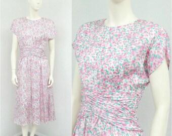 Vintage 80s Light Pink Silk Dress, Pale Pink Floral Dress, Midi Dress, Blouson Dress, Ruched Dress, Full Skirt Dress, Tea Length Dress