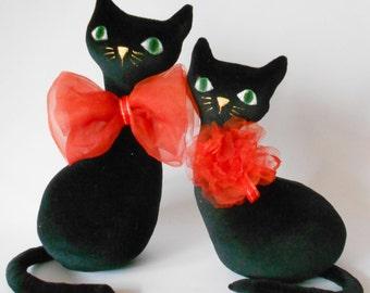 Velour cat,soft cat toy,black cat, stuffed animal,plush toy