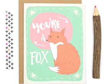 You're A Fox - Funny Fox I Love You Anniversary Card - Foxy Love Card