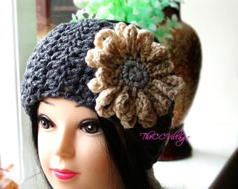 Grey Crochet womens headband, Earwarmer, Crochet headband flower for winter