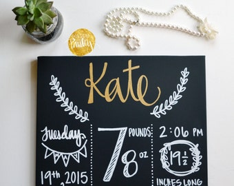 Birth Announcement Sign Custom Colors Canvas Birth Stats Painting New Baby Girl Nursery Decor Nursery Wall Art Canvas Painting Hospital Door